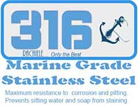 type 316 marine grade stainless sinks