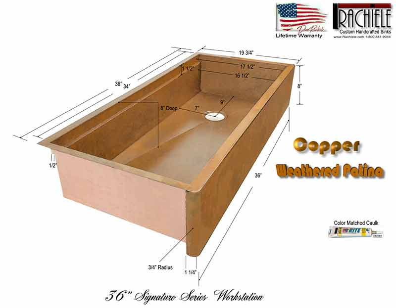36 inch farm sink copper