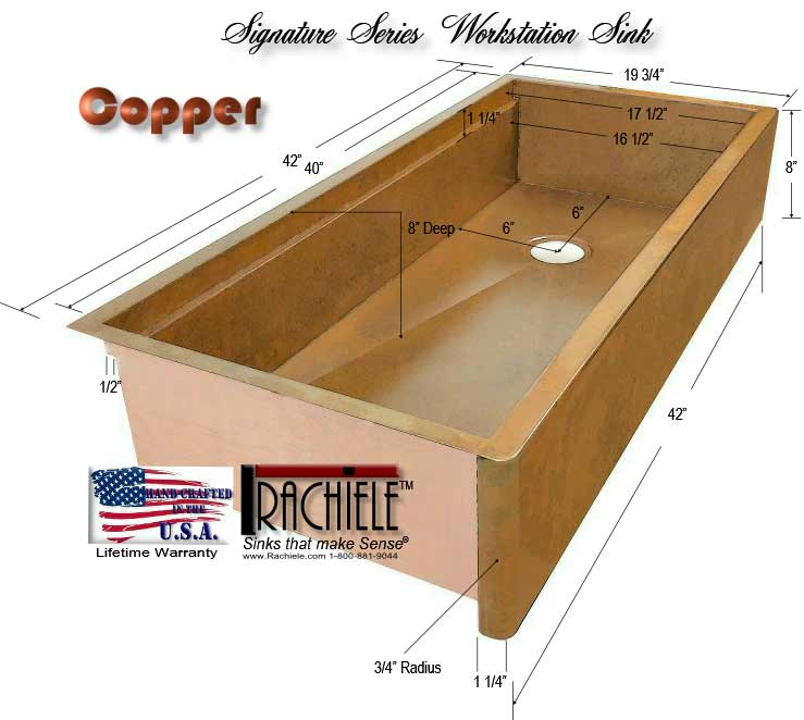 42 inch copper farm sink on sale