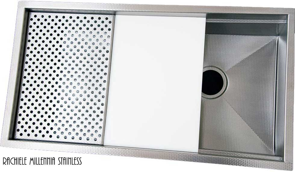 Scratch resistant textured stainless steel workstation sink with cutting board and grid