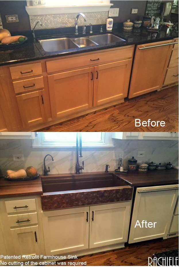 before and after retrofit copper farmhouse sink