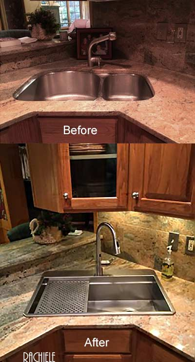 Top mount stainless replacement retrofit sink