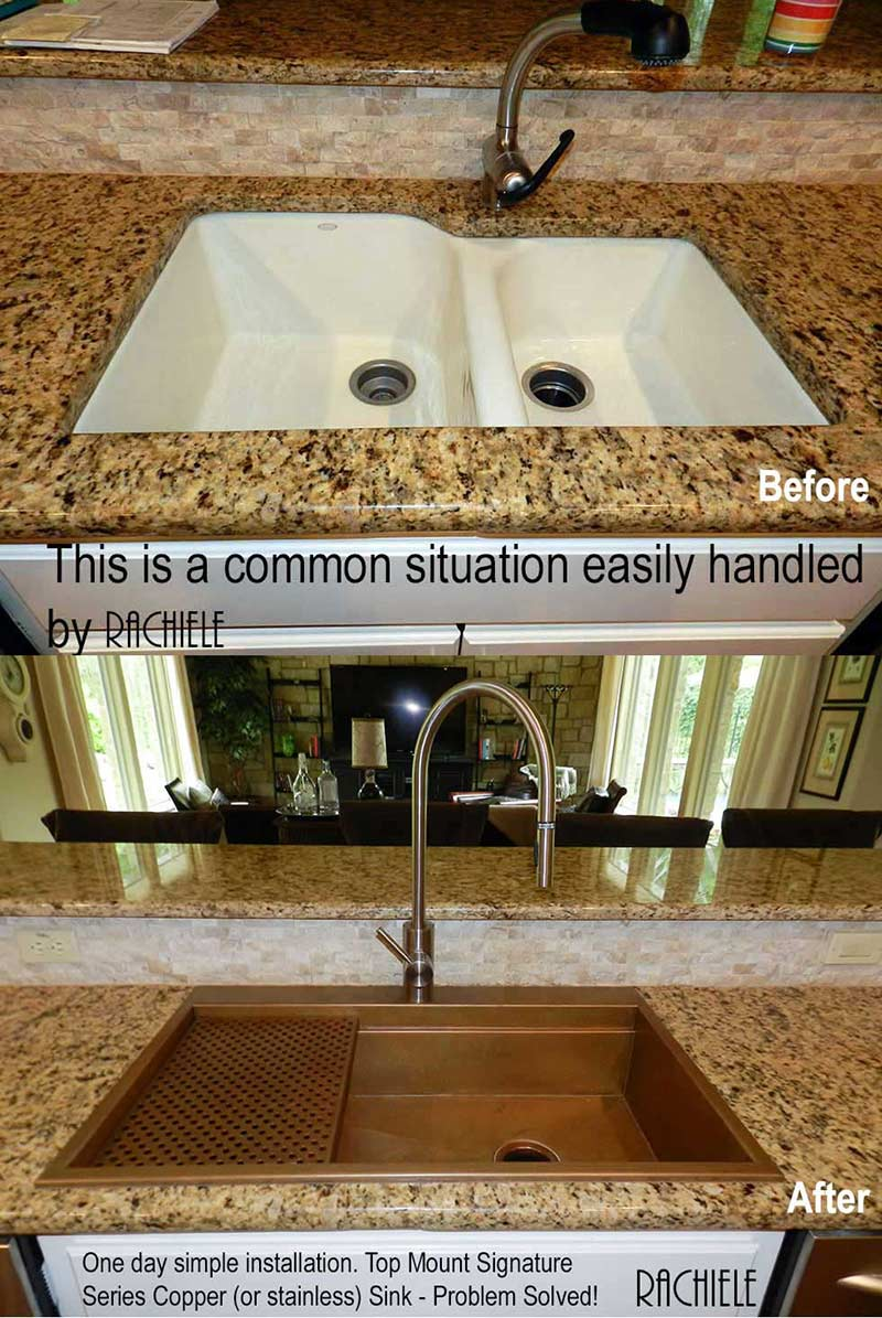 Custom copper top mount replacement single bowl sink replacing a double bowl sink