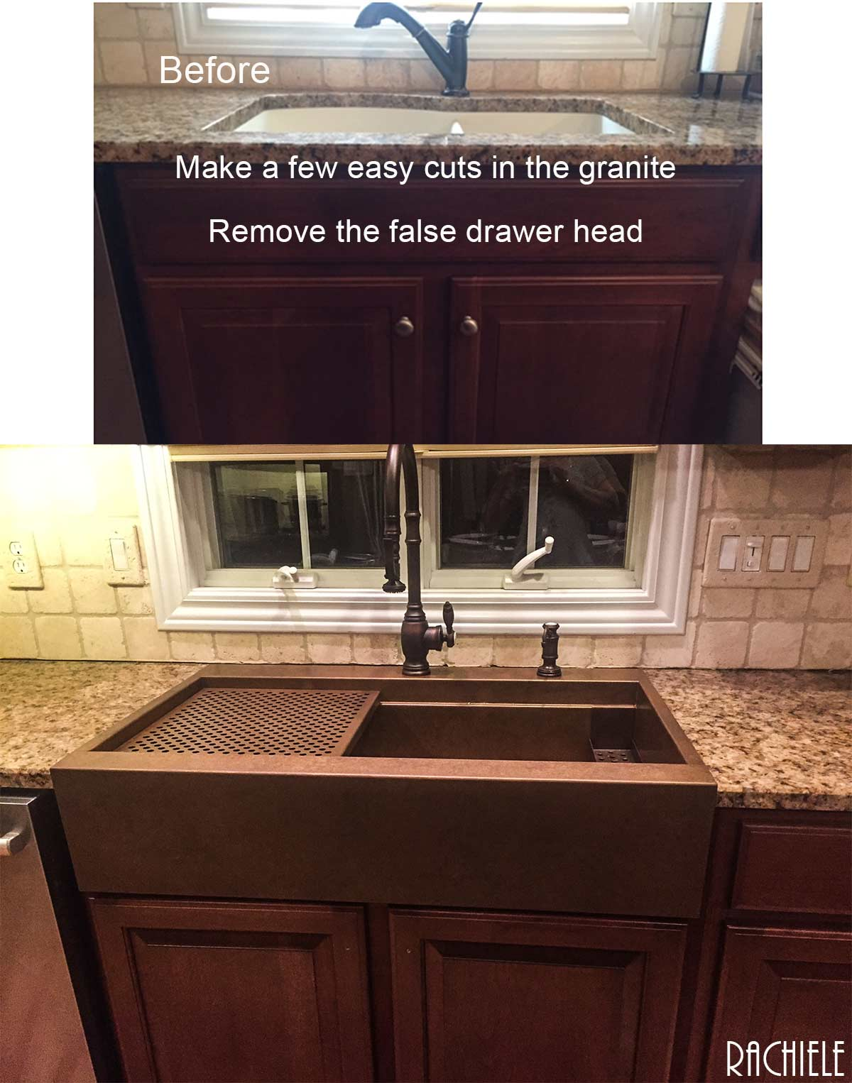 Top Mount Farmhouse Sink Retrofit Installation In Existing Cabinet