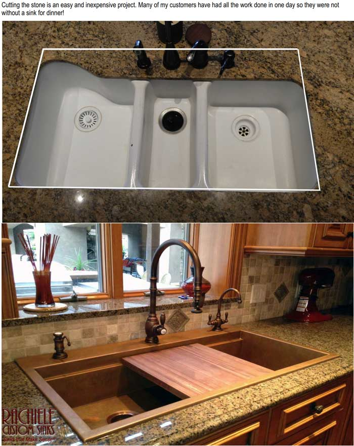 waterstone 5500 faucet suite on a copper custom sink by rachiele