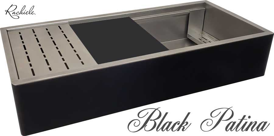 black stainless steel farmhouse sink by rachiele custom sinks