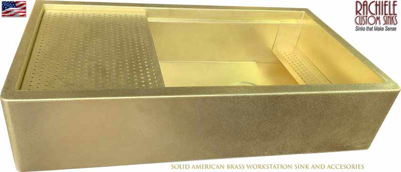 Custom Brass Farmhouse Workstation Kitchen Sink made in the USA