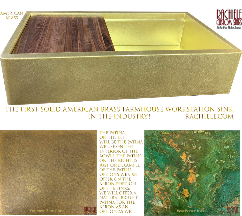 Brass Farmhouse Kitchen Sink made in the USA