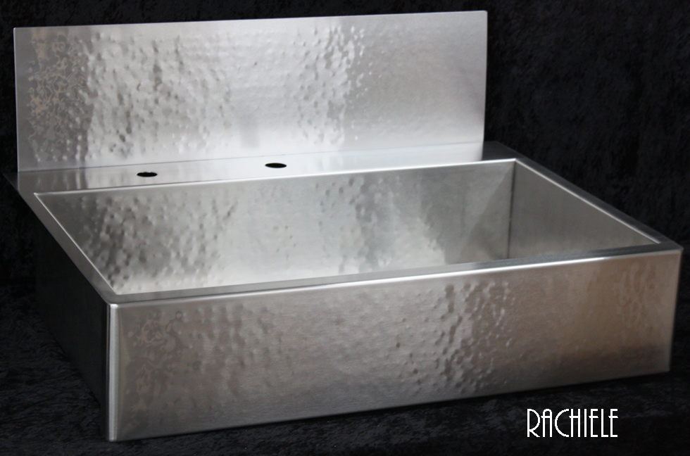 7 Apron Front Sink : This is a large brushed stainless apron sink with a rear deck and a ...
