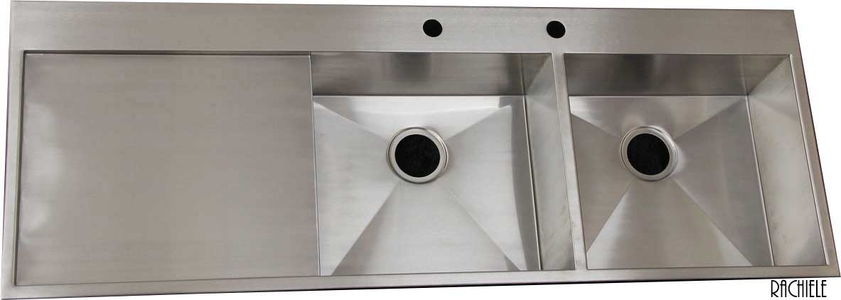 stainless steel double bowl sink with integral drain board