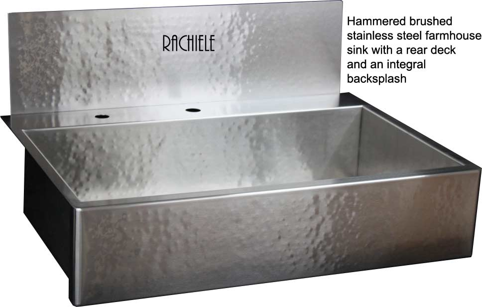 Exceptional Hammered Stainless Farmhouse Sink With Rear Faucet Deck And Integral  Backsplash