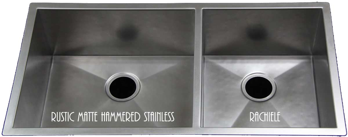 hammered matte stainless double bowl sink