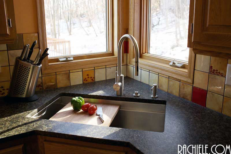 stainless steel sinks that hide scratches and water spots.