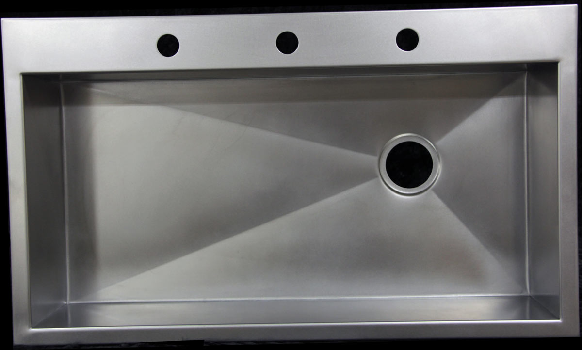 Matte Stainless steel 36X22 sink that replaced an under mount sink ...