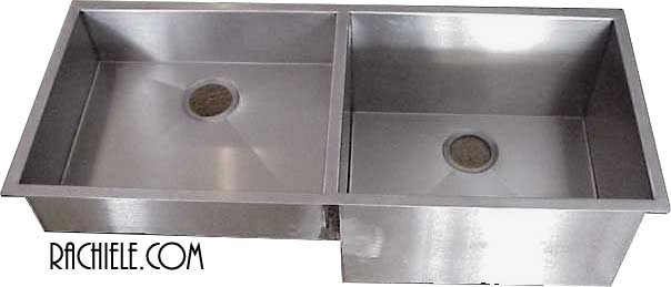 unequal depth double bowl stainless steel custom sink