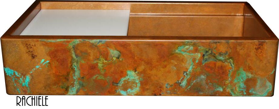 Colorful rustic copper sink patina