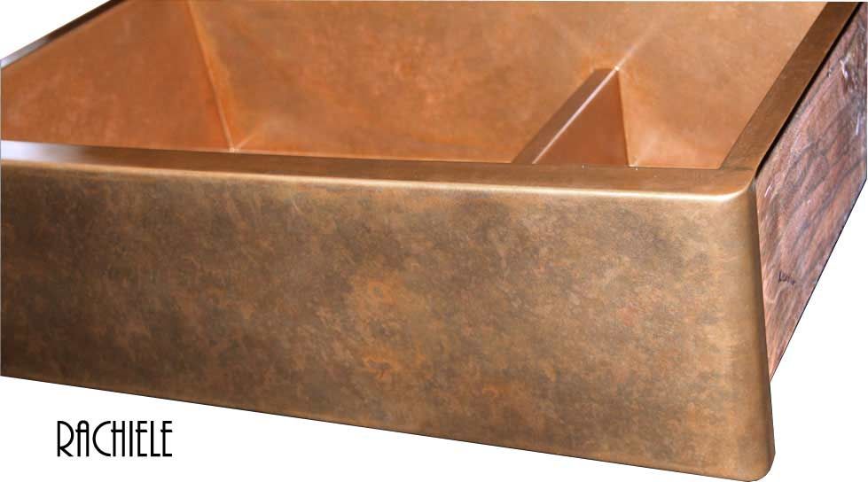 double bowl copper farmhouse sink with lower center divider