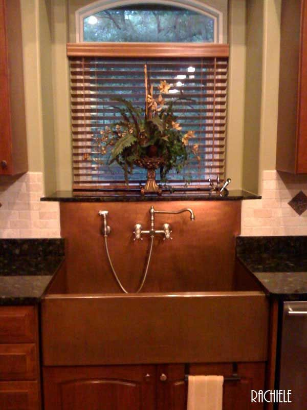 There are some critical things you should know about integrating these  types of sinks. - Copper Sinks With Integral Back Splashes By Rachiele
