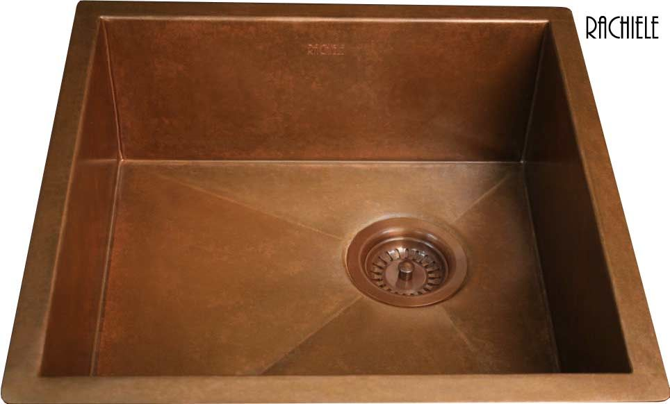 Square under mount copper bar or prep sink
