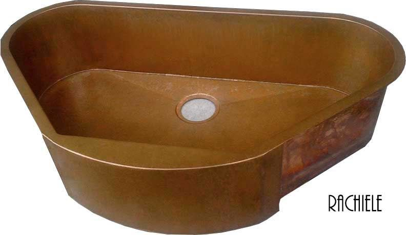 copper corner single bowl farmhouse sink