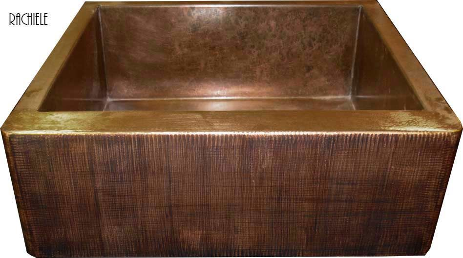 Copper farmhouse apron front bar sink