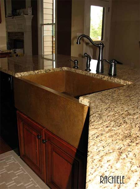installed copper farmhouse sink photo