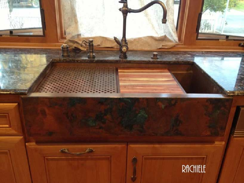 Lovely Copper Farmhouse Sink With Cutting Board