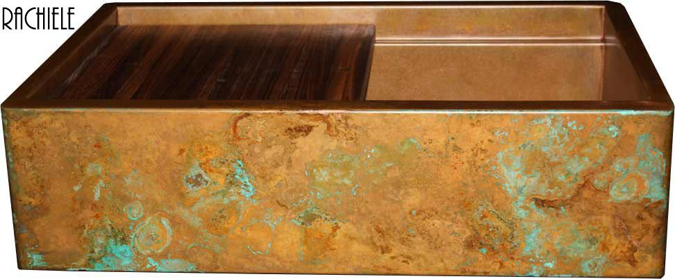 rustic patina copper farmhouse workstation sink with american black walnut cutting board