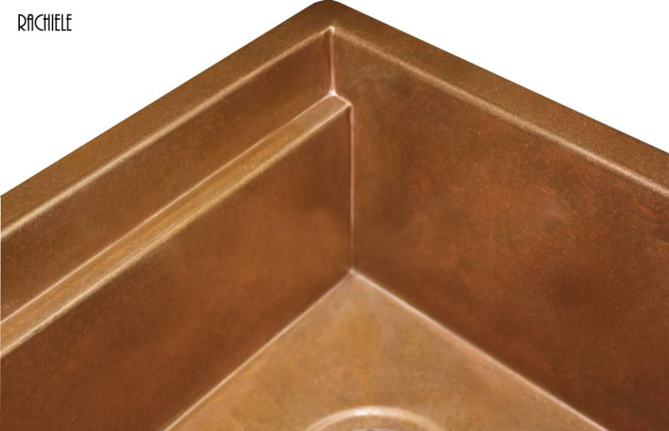 copper sink with interior ledge