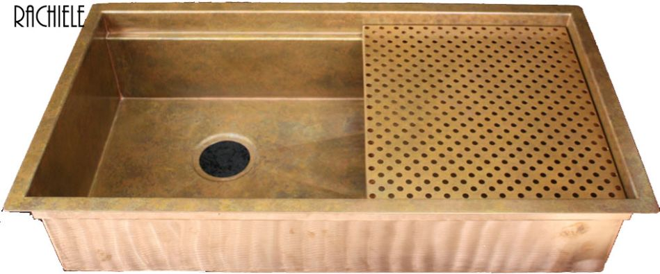 copper workstation sink with a left rear drain