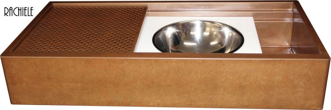 copper workstation Evolution sink with mixing bowl