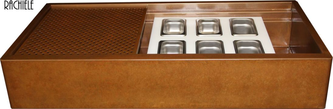 copper apron workstation Evolution sink with two tiers holding serving trays and a copper grid
