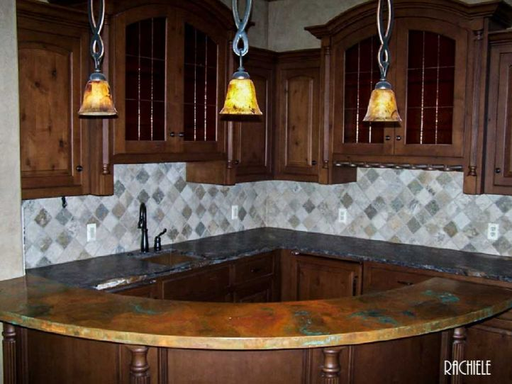 Custom Stainless Steel Farmhouse Sink. Custom Curved Copper Bar Top