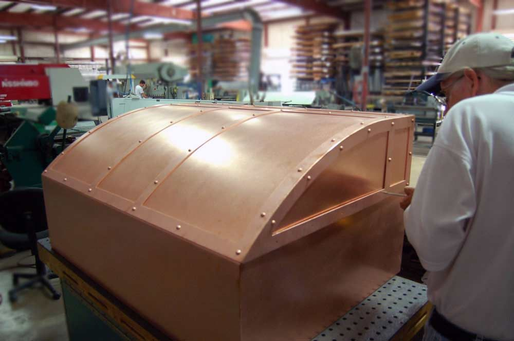 copper hood with bands and rivits