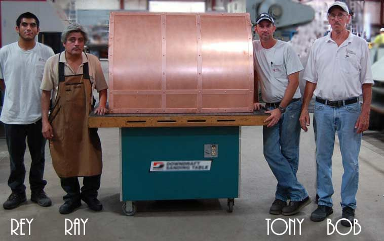 copper hood finished at factory