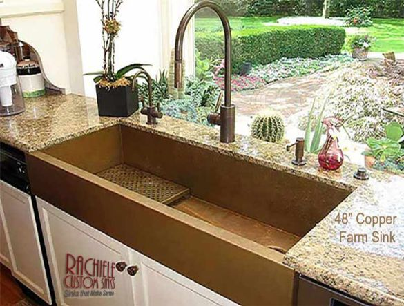 large copper farmhouse apron sink