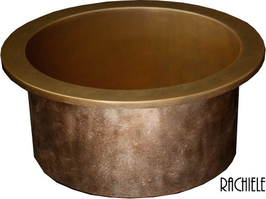 round top mount copper lav sink