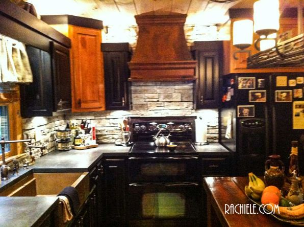 ornate custom copper hood in kitchen