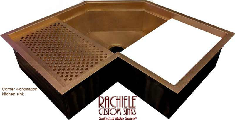 custom copper corner workstation sink