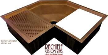 custom copper corner sink with cutting board and drain grid