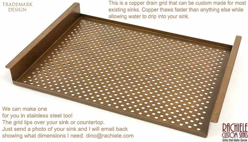 copper drain grid and thawing rack