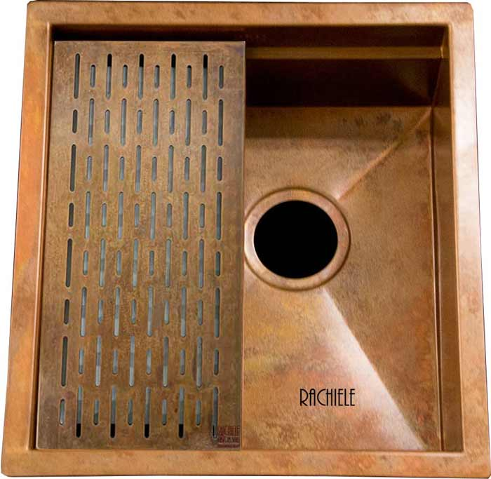 copper prep sink with copper grid