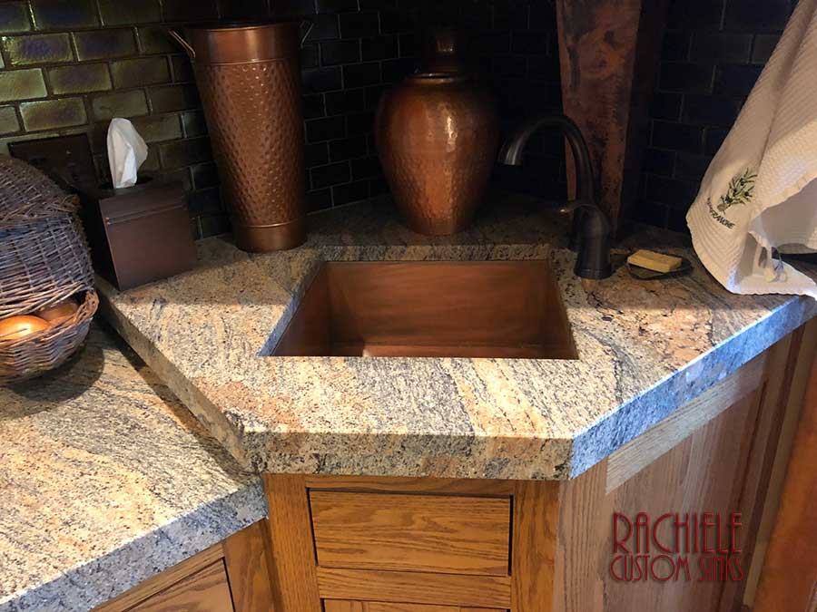 Copper bar sink made in the USA by Rachiele