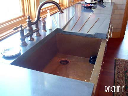 Copper Sink With Integral Drain Board