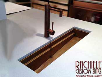 copper trough workstation sink