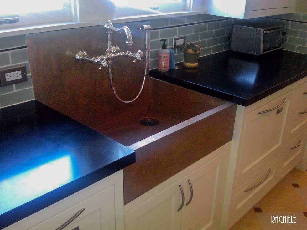 copper apron front sinks with integral back splashes