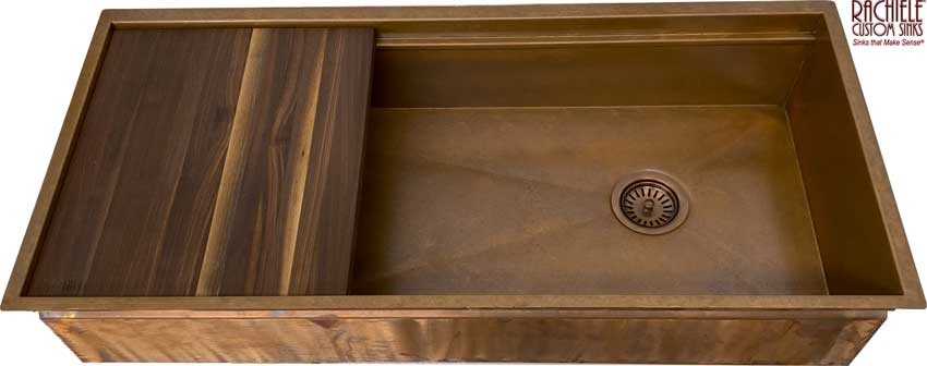 copper undermount 42 inch sink by Rachiele Custom Sinks
