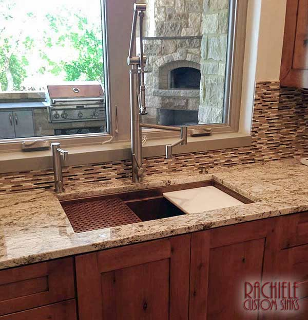Copper under mount sinks custom made by Rachiele made in the USA