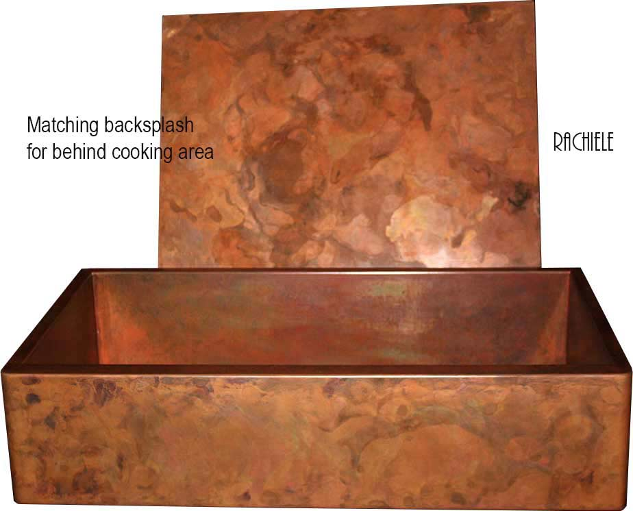 copper sink with copper backsplash