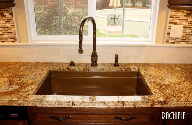 Undermount Copper Kitchen Sink Copper under mount sinks by rachiele made in usa this is a photo sent in by a past customer this is a copper under mount signature series workstation sink the faucet is by waterstone workwithnaturefo